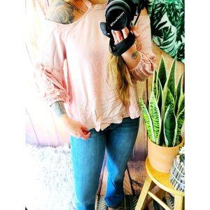 Anthropologie baby pink cold shoulder blouse 🍃